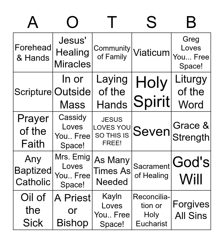 Anointing of the Sick Bingo: ANOINTO Bingo Card