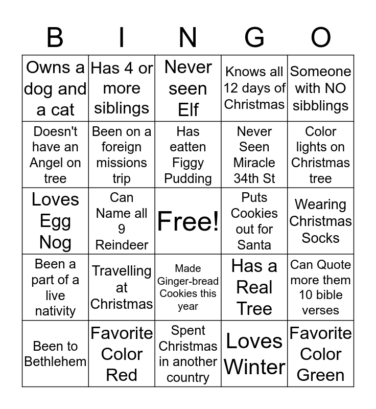 Christmas Banquet Get to Know You! Bingo Card