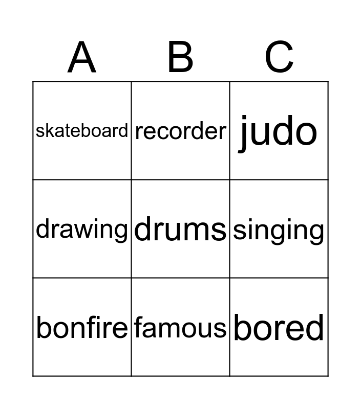 Lesson words BINGO Card