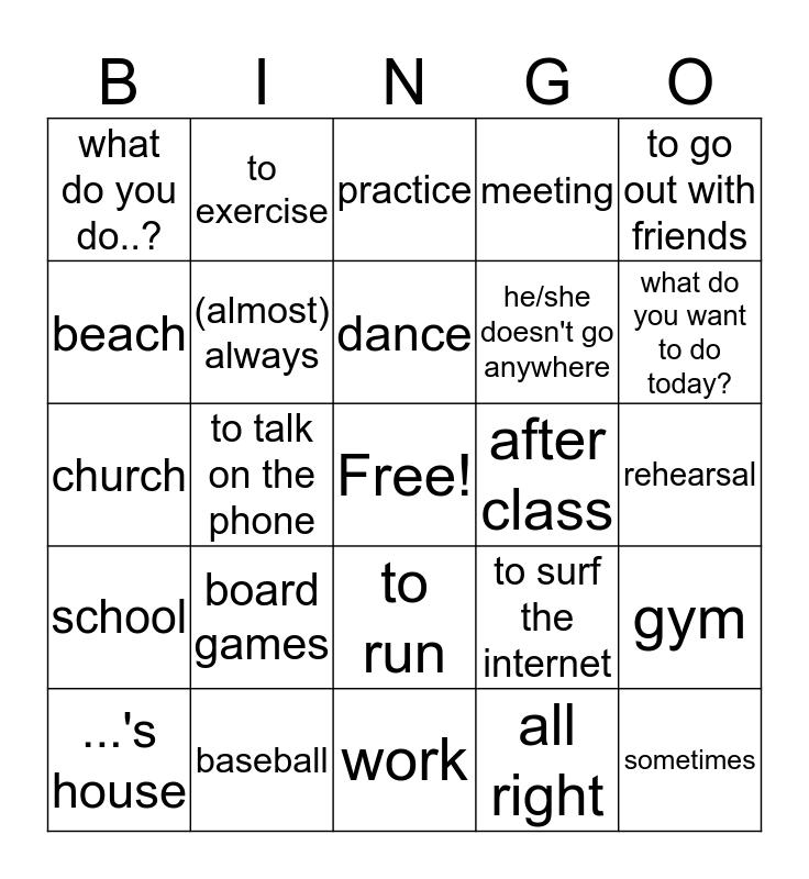 Spanish Bingo Card