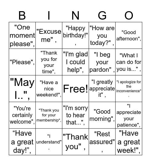 Finesse Bingo! Bingo Card