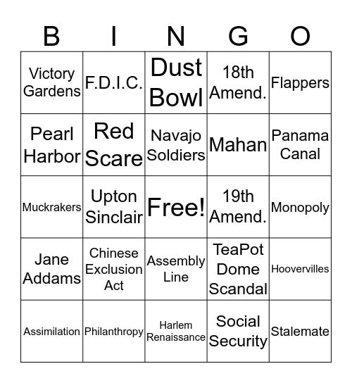 U. S. History Review Bingo Card