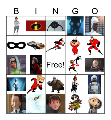 Incredibles Bingo Card