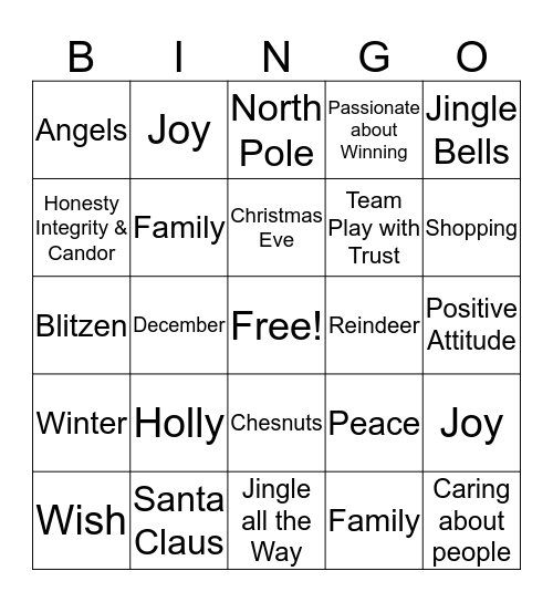 LCI Christmas Bingo Card