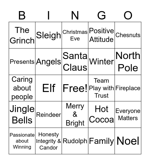 LCI Christmas Bingo Card