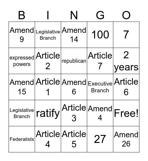 Constitutional Bingo  Bingo Card