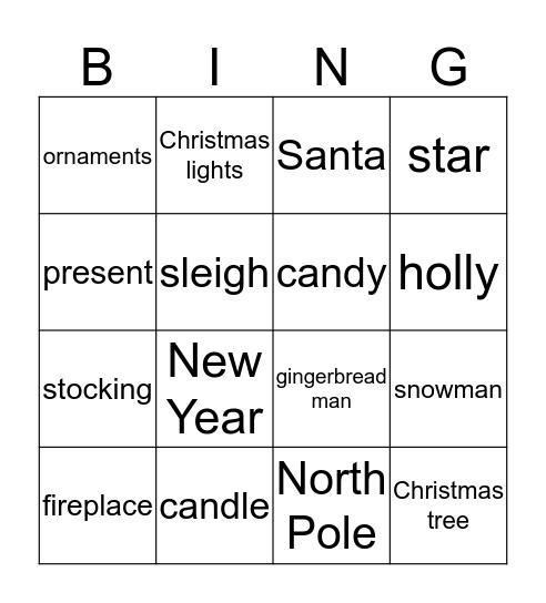 Christmas and New Year Bingo Card