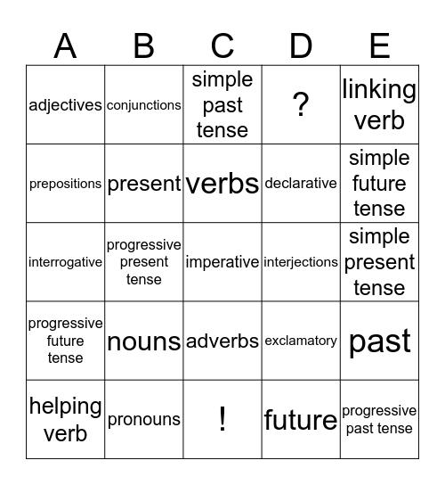 Grammar/Sentence Tense BINGO Card
