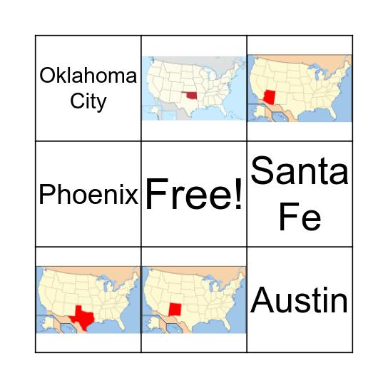 Southwest States / Capitals Bingo Card