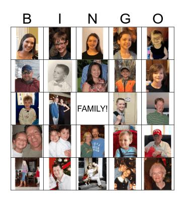 Family Picture Bingo Card