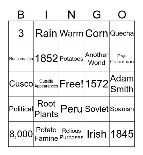 Inca History Bingo Card