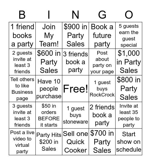 Virtual Party Host Bingo Card
