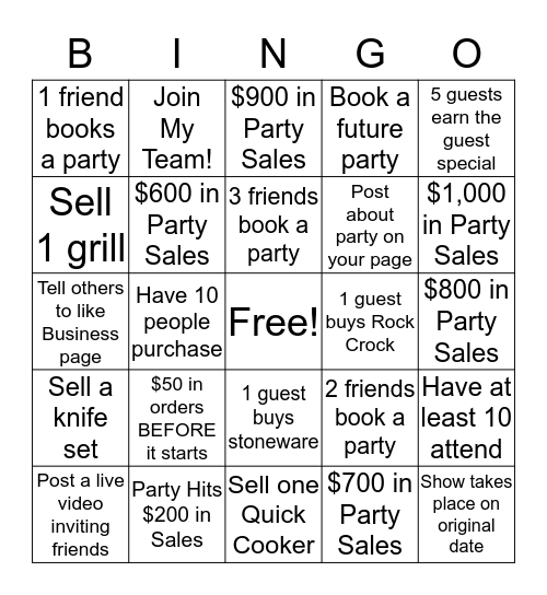 Cooking Party Host Bingo Card