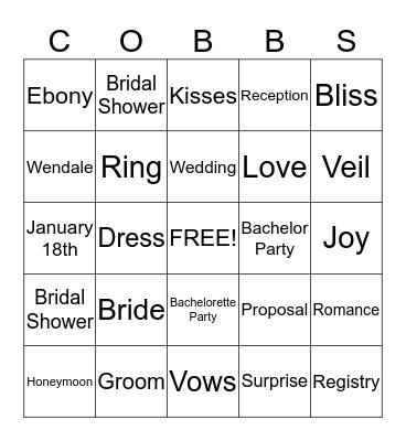 COBBS WEDDING BINGO Card