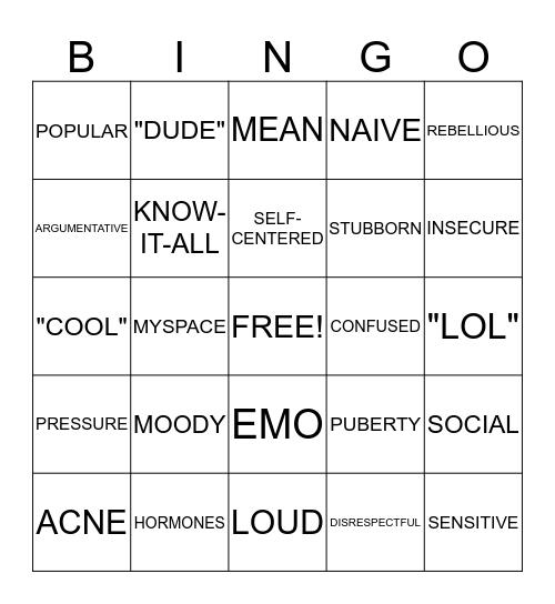TEENAGER Bingo Card