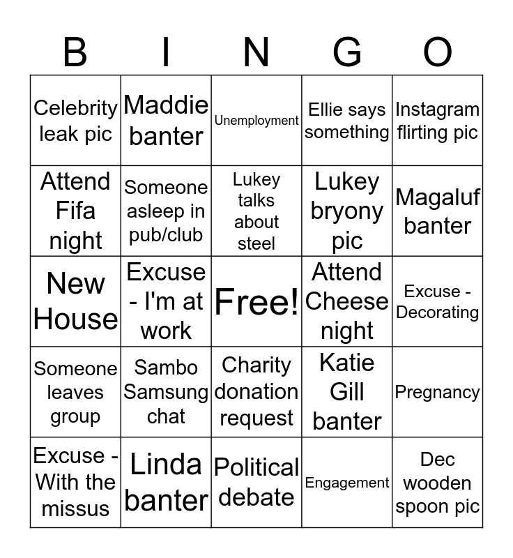 Grafton Centre Bingo 2019 Bingo Card