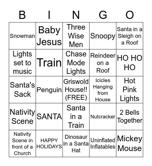 Christmas Lights Bingo Card