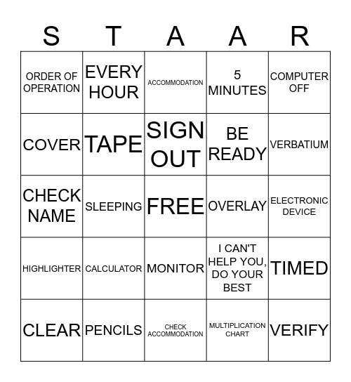ALI'S  STAAR  BINGO  2014 Bingo Card
