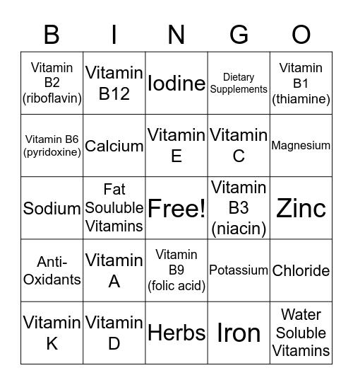 Chapter 11 BINGO! Bingo Card