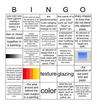 Watercolor/art Bingo Card