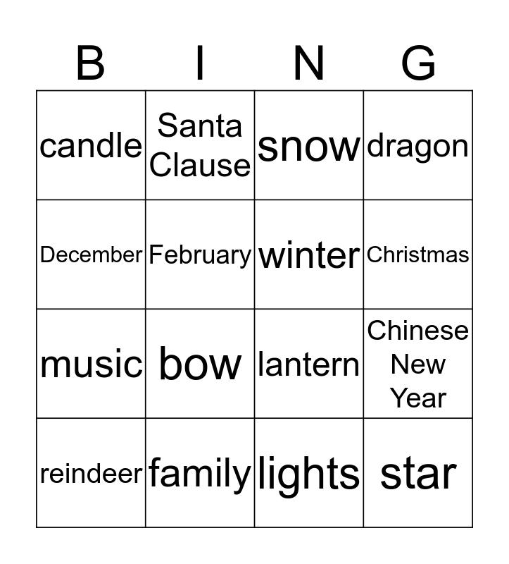 Winter Holiday BINGO Card