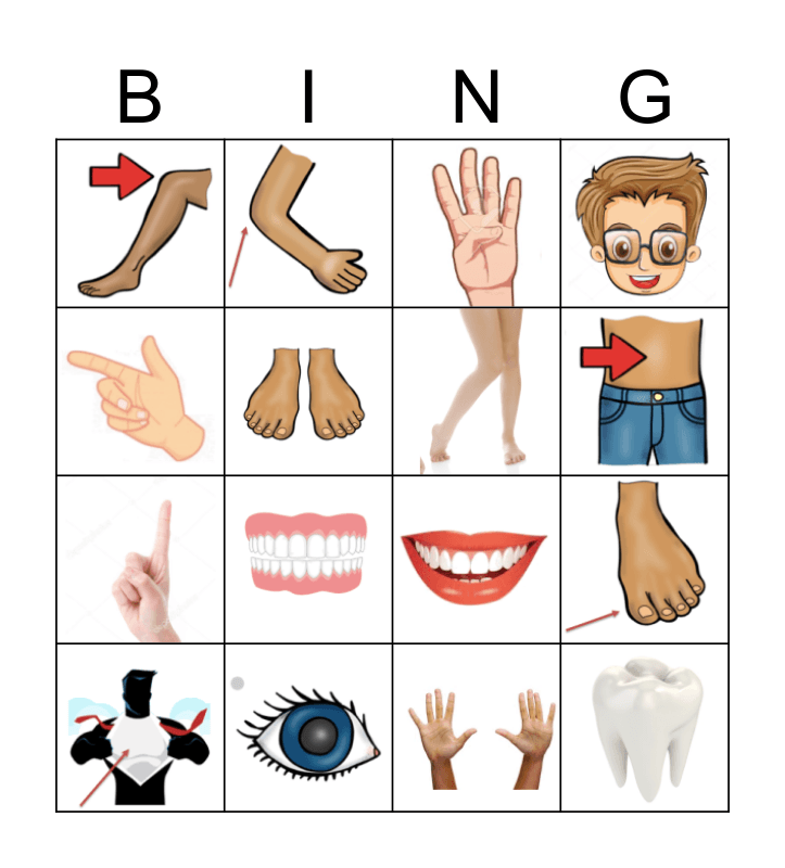 BODY PARTS Bingo Card