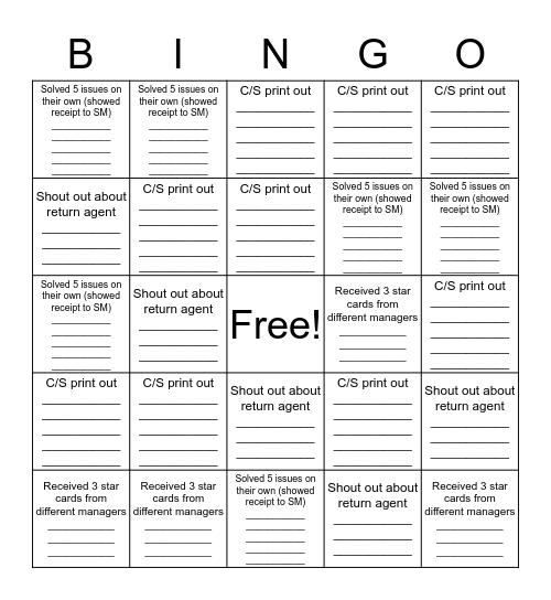Returns Bingo Card