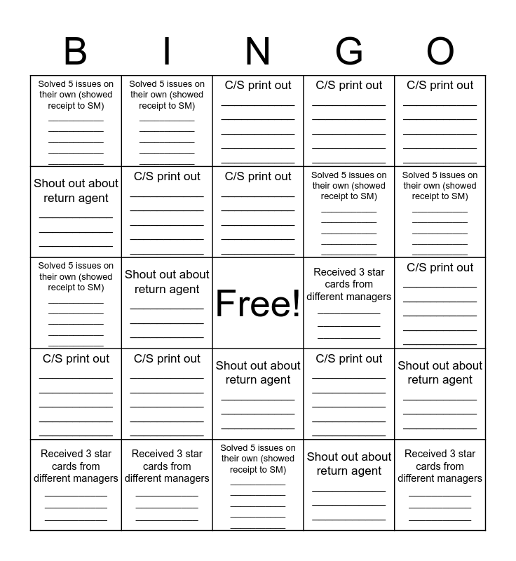 Returns Bingo Card