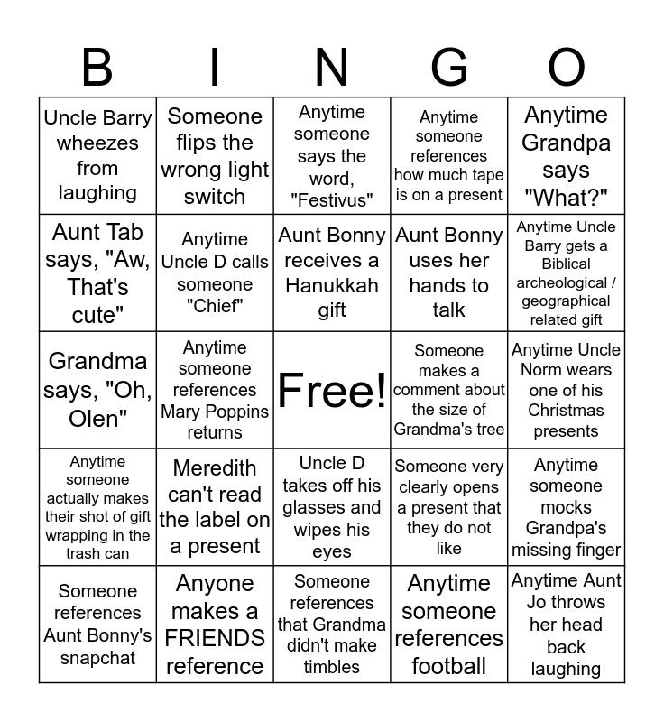 Britnell Family Christmas Bingo Card