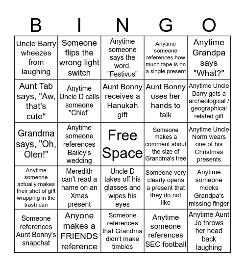 Date Nut Balls Bingo Card