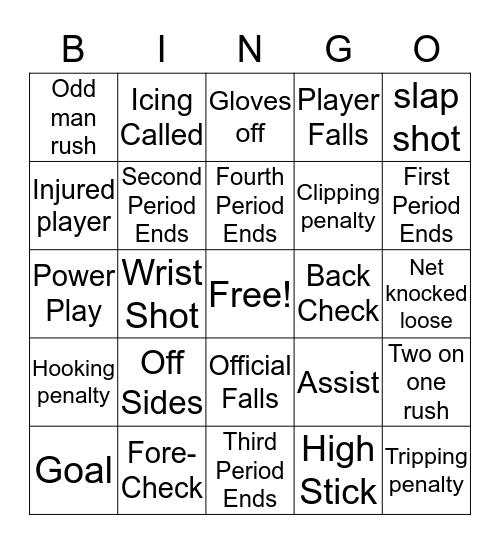 Blades Bingo Card