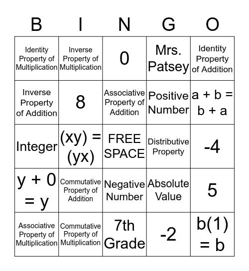 Math Properties & Absolute Value Bingo Card