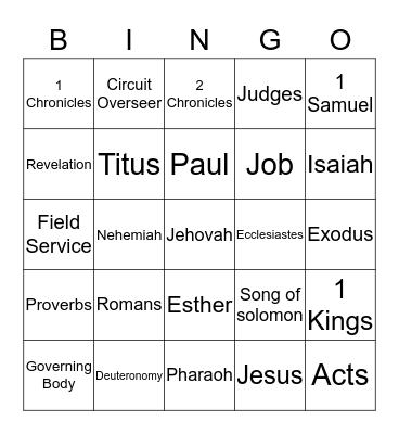 Bible Books Bingo Card