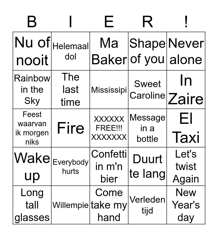 Cafeetje Swingo Bingo Card