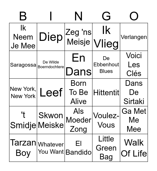 Dansklub Tervuren Bingo Card