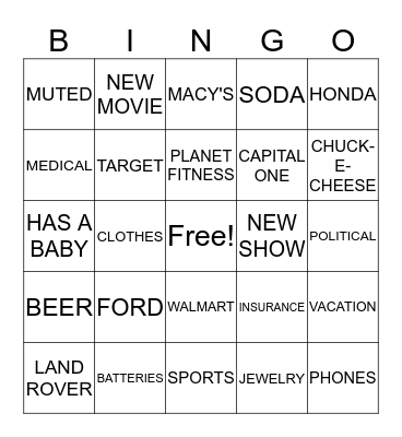 NEW YEARS COMMERCIAL Bingo Card