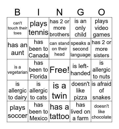 Icebreaker Bingo Card