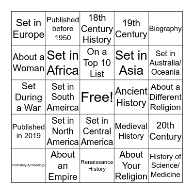 Historical Non-Fiction Book/Audiobook Challenge 2019 Bingo Card