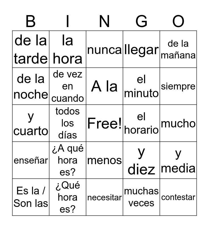 2.1 Spanish Vocabulary Bingo Card