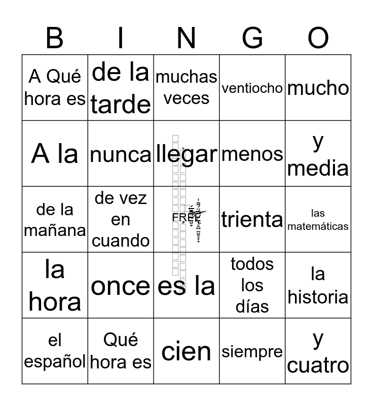 2.1 Spanish Vocab Bingo Card
