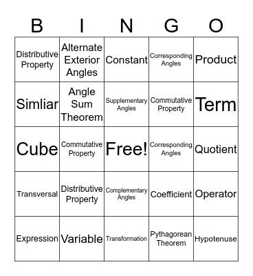 Math Vocabulary! Bingo Card