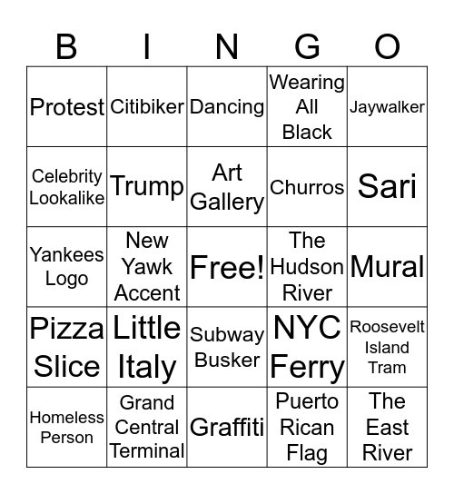 NYC Bingo Card
