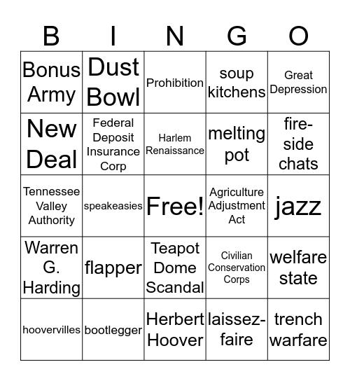 Unit 4 reviewing Bingo Card