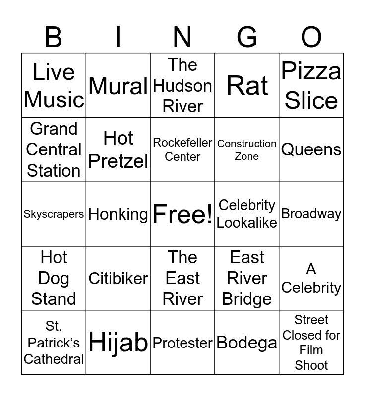 NYC Bingo Card