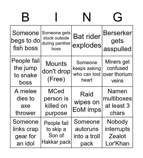 UAV ZG Bingo Card
