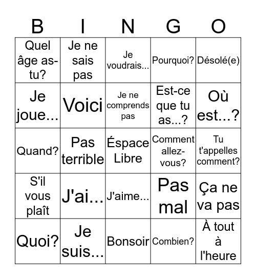 Common Expressions Bingo Card