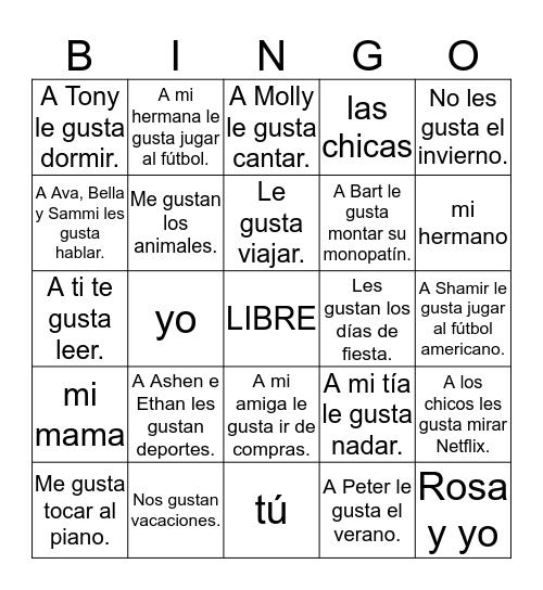 Gustar Bingo 2 Bingo Card