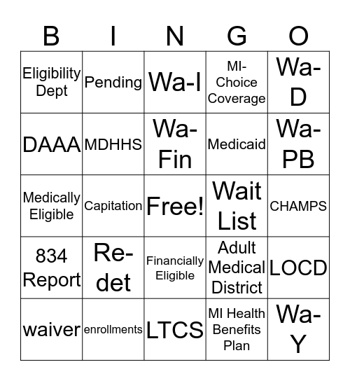 Eligibility Bingo Card