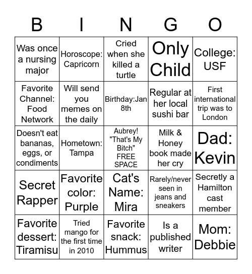 ♫ Aubrey Lynne...My name is Aubrey Lynne...And there's a million things I haven't done...But just you wait, just you wait ♫ Bingo Card