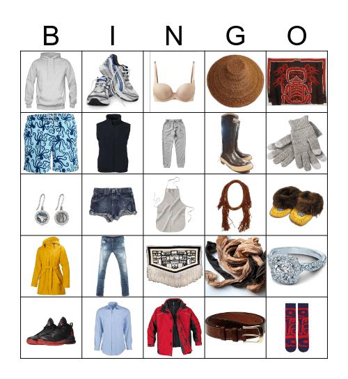 Clothing & Jewelry Bingo Card